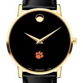 615789251859: Clemson Men's Movado Gold Museum Classic Leather