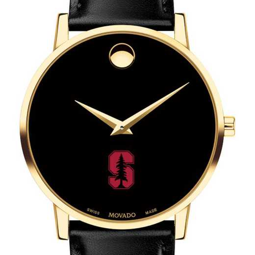 615789253983: Stanford Univ Men's Movado Gold Museum Classic Leather