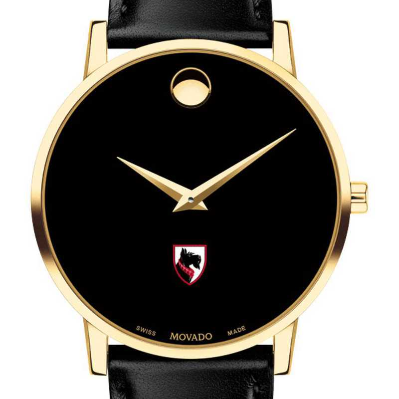 615789271413: Carnegie Mellon Univ Men's Movado Gold Museum Classic Leather