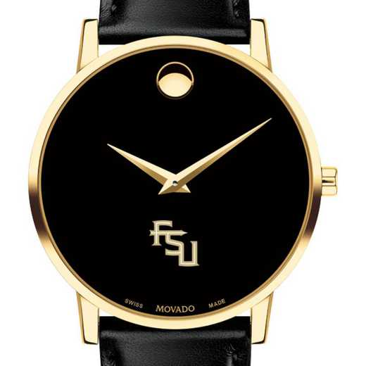 615789276104: Florida State Univ Men's Movado Gold Museum Classic Leather