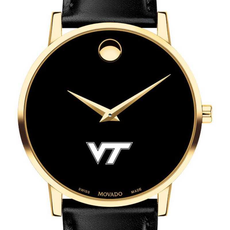 615789282839: Virginia Tech Men's Movado Gold Museum Classic Leather