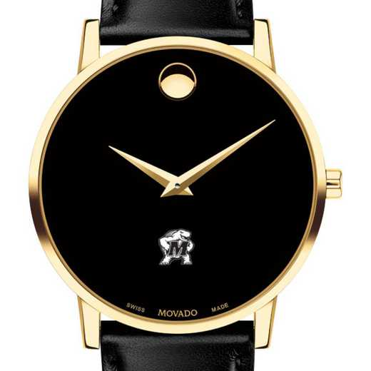 615789364306: Uni of Maryland Men's Movado Gold Museum Classic Leather