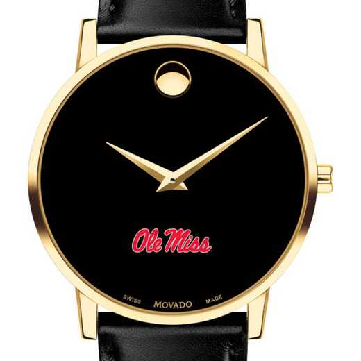 615789370277: Univ of Mississippi Men's Movado Gold Museum Classic Leather