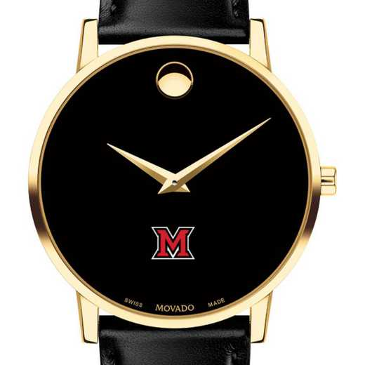 615789370772: Miami University Men's Movado Gold Museum Classic Leather