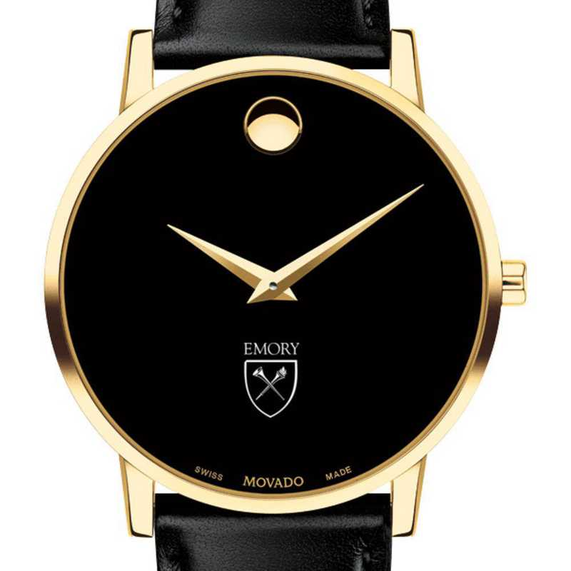 615789376927: Emory Univ Men's Movado Gold Museum Classic Leather