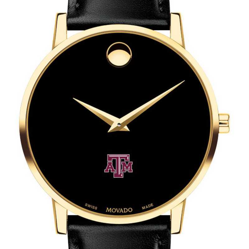 615789388142: Texas A&M Unive Men's Movado Gold Museum Classic Leather