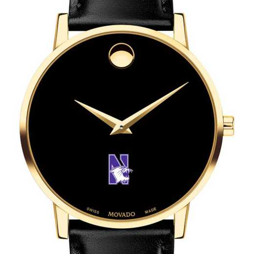 615789427933: Northwestern U Men's Movado Gold Museum Classic Leather