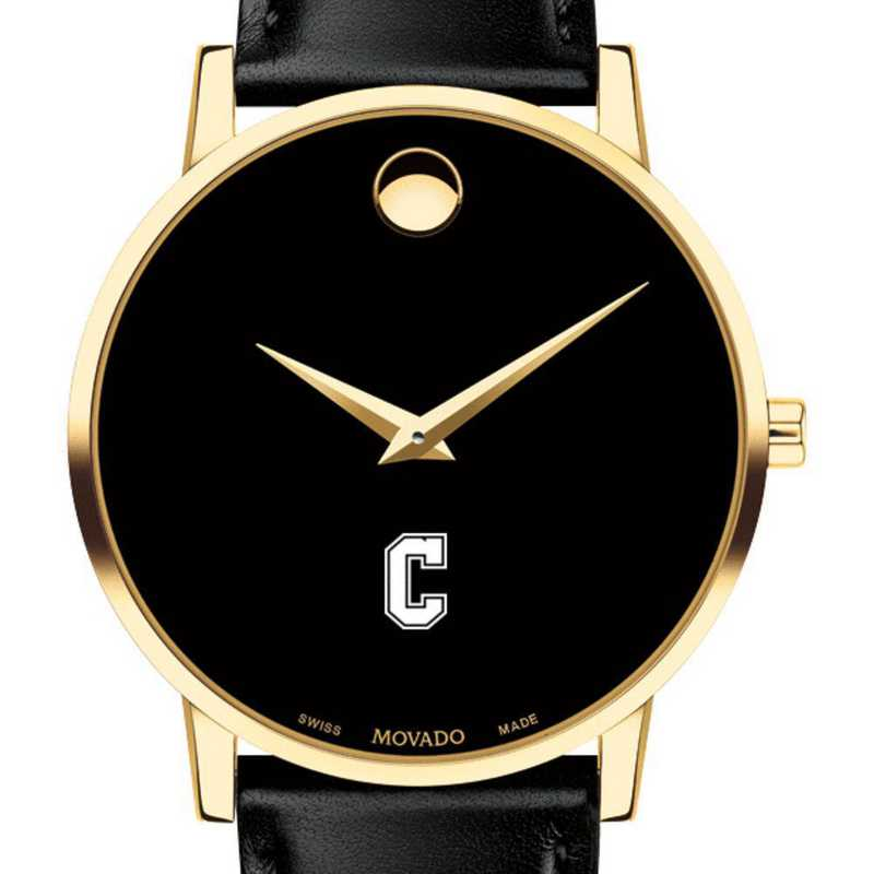 615789429647: College of Charleston Men's Movado Gold Museum Classic Lther