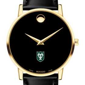 615789432234: Tulane Univ Men's Movado Gold Museum Classic Leather
