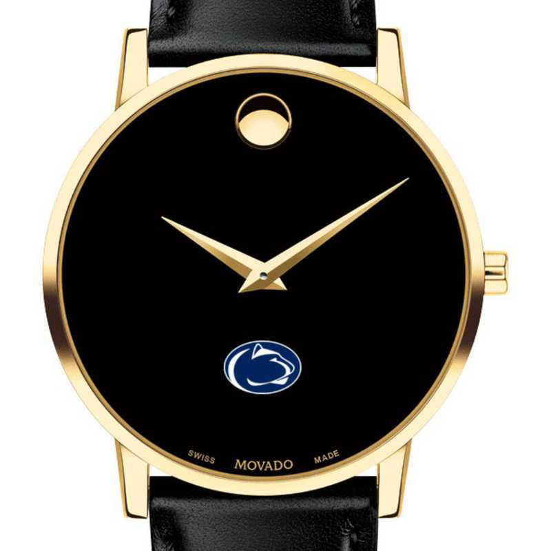 615789438274: Penn State Men's Movado Gold Museum Classic Leather