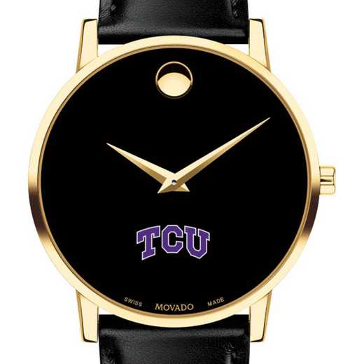 615789454571: Texas Christian Uni Men's Movado Gold Museum Classic Leather