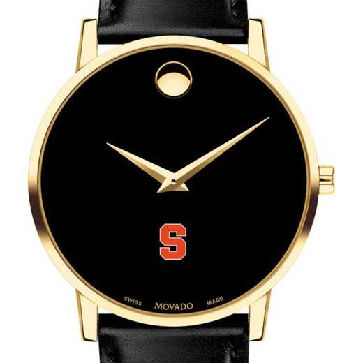 615789472070: Syracuse Univ Men's Movado Gold Museum Classic Leather