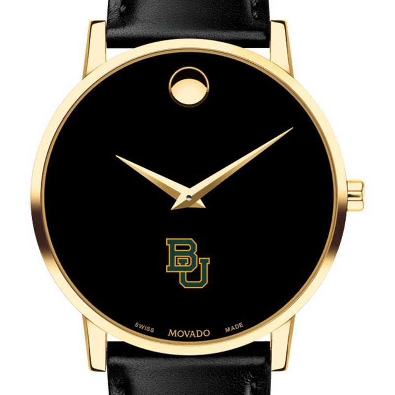 615789478850: Baylor Univ Men's Movado Gold Museum Classic Leather