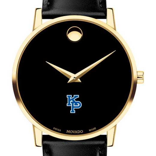 615789492955: US Marine Academy Men Movado Gold Museum Classic Leather