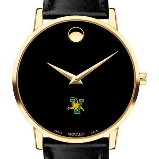 615789510543: Univ of Vermont Men's Movado Gold Museum Classic Leather