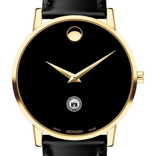 615789575498: US Coast Guard Academy Men's Movado Gold Museum Classic Leather