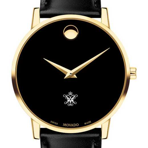 615789577652: CollegeofWilliam&Mary Men's Movado Gold Museum Classic Lthr