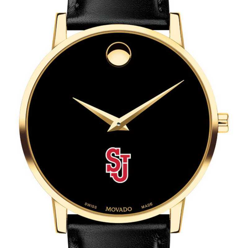 615789652298: St. John's Univers Men's Movado Gold Museum Classic Leather