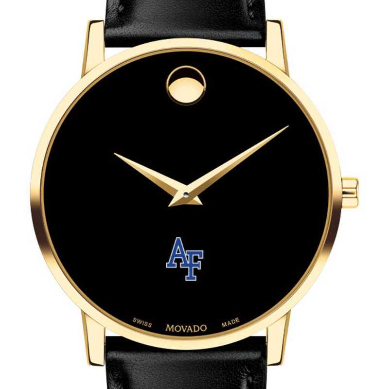615789667216: US Air Force Academy Men's Movado Gold Museum Classic Lther