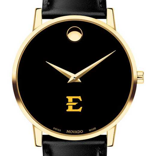615789696889: East Tennessee State Univ Men's Movado Gold Museum Classic Leather
