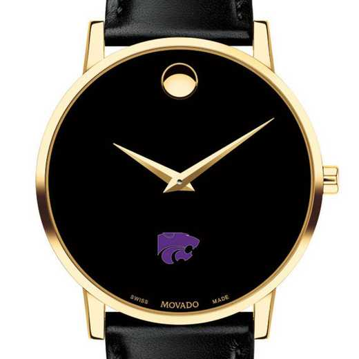 615789730286: Kansas St Uniy Men's Movado Gold Museum Classic Leather