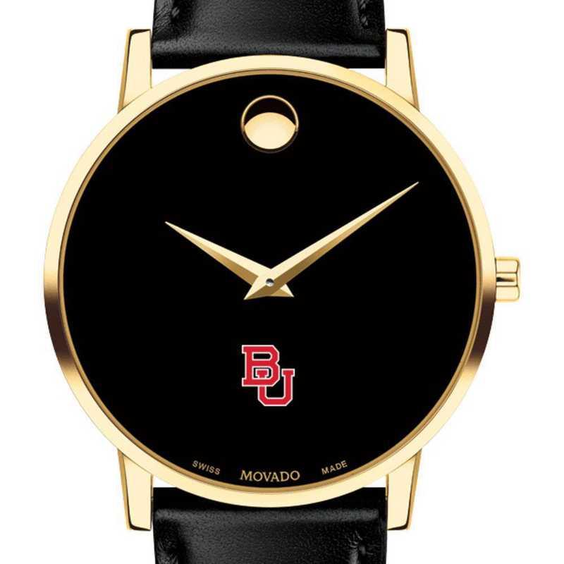 615789740575: Boston Univ Men's Movado Gold Museum Classic Leather