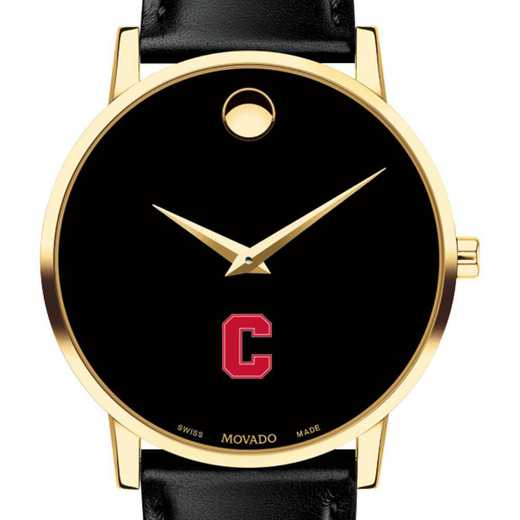 615789741992: Cornell Univ Men's Movado Gold Museum Classic Leather