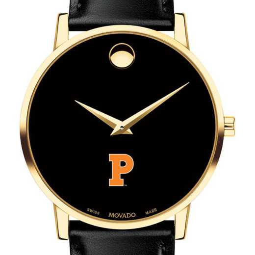 615789747727: Princeton Univers Men's Movado Gold Museum Classic Leather
