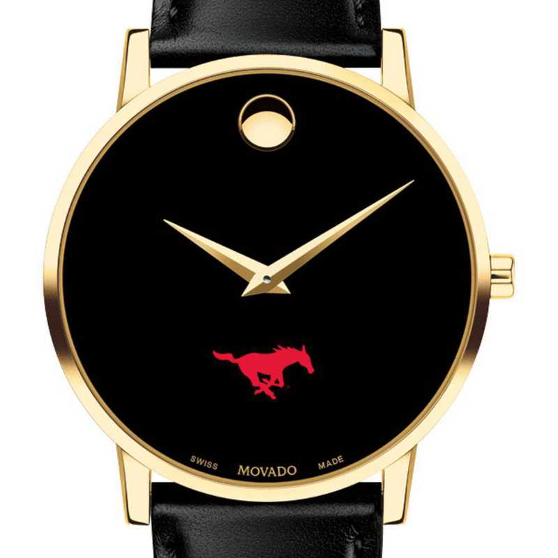 615789772866: Southern Methodist Men's Movado Gold Museum Classic Leather