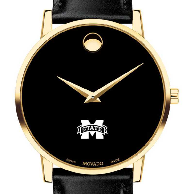 615789780809: Mississippi State Men's Movado Gold Museum Classic Leather