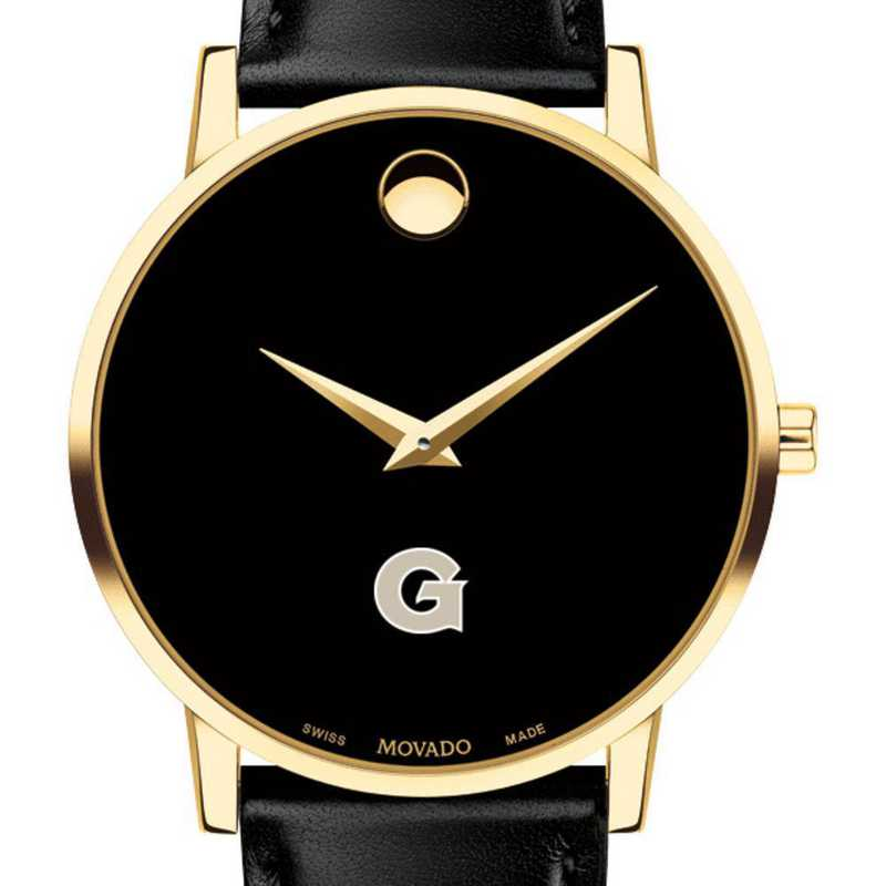 615789792796: Georgetown Univ Men's Movado Gold Museum Classic Leather