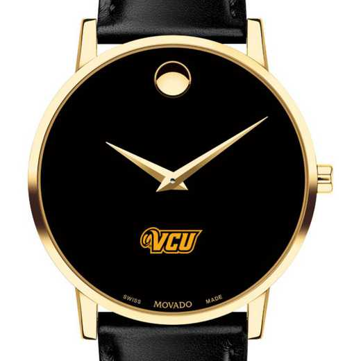 615789838111: VA Commonwealth Uni Men's Movado Gold Museum Classic Leather