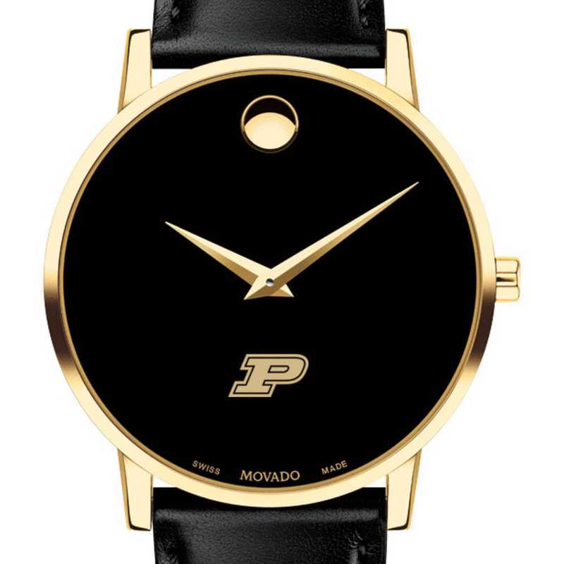 615789839255: Purdue Men's Movado Gold Museum Classic Leather