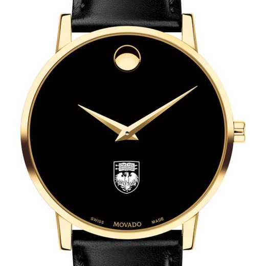 615789854999: Univ of Chicago Men's Movado Gold Museum Classic Leather