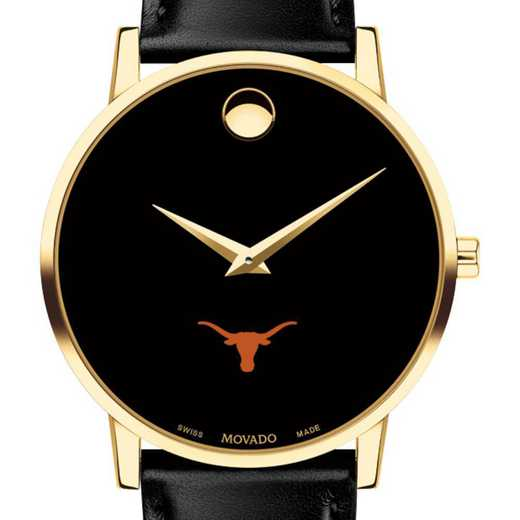 615789892236: Univ of Texas Men's Movado Gold Museum Classic Leather