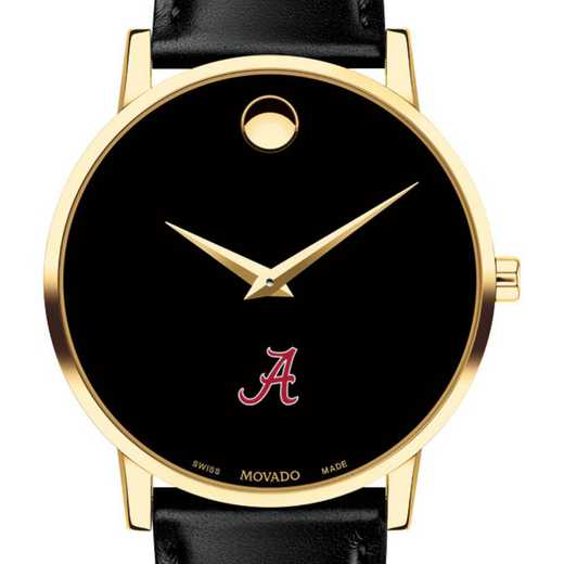 615789936862: Univ of Alabama Men's Movado Gold Museum Classic Leather