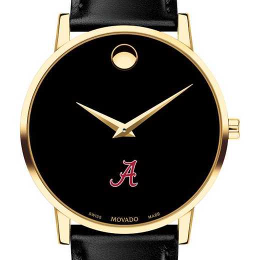615789936862: Univ of Alabama Men's Movado Gold Museum Classic Leather
