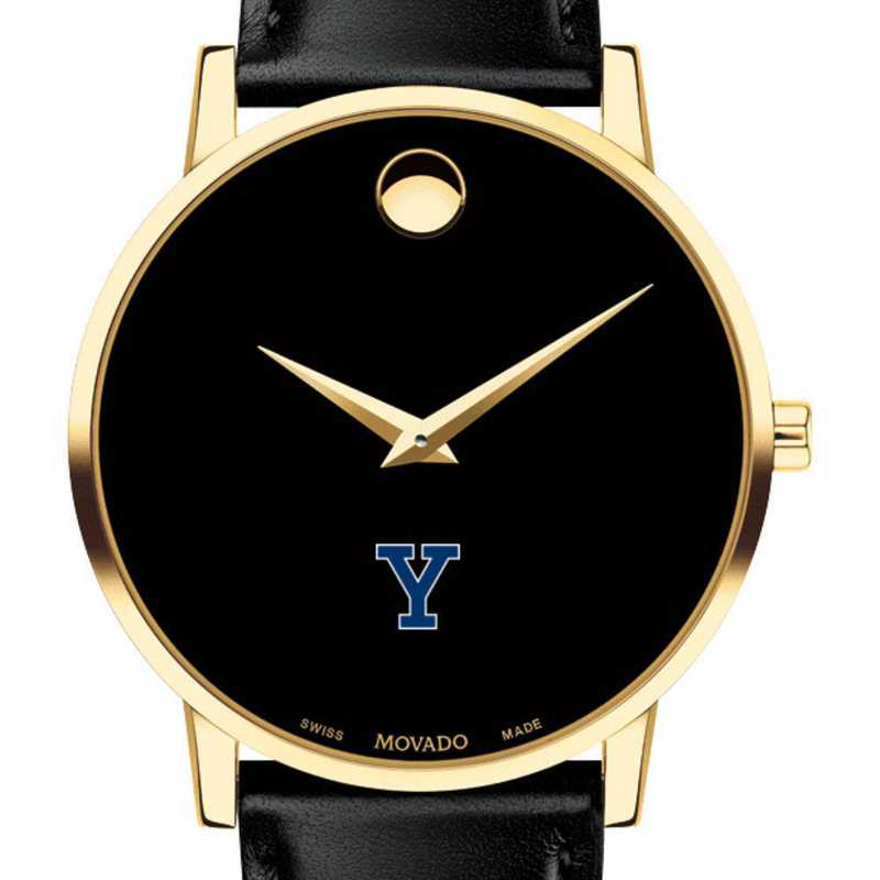615789938378: Yale Univ Men's Movado Gold Museum Classic Leather