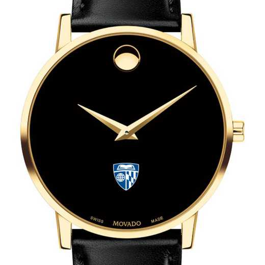 615789948261: Johns Hopkins Univ Men's Movado Gold Museum Classic Leather