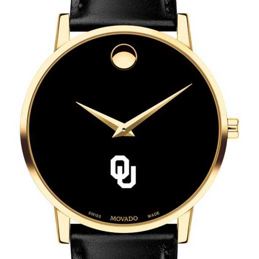 615789950479: U of Oklahoma Men's Movado Gold Museum Classic Leather