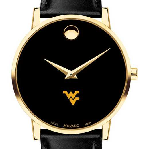615789956969: West Virginia Univ Men's Movado Gold Museum Classic Leather
