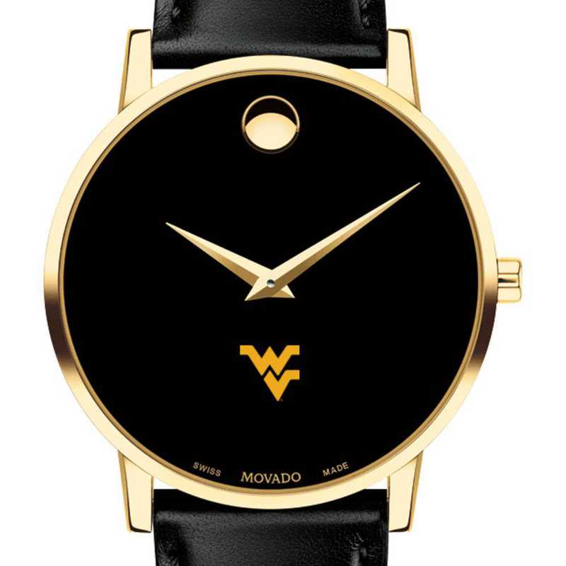 615789956969: West Virginia Univ Men's Movado Gold Museum Classic Leather