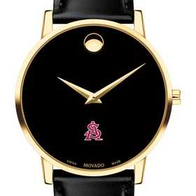 615789960720: Arizona State Men's Movado Gold Museum Classic Leather