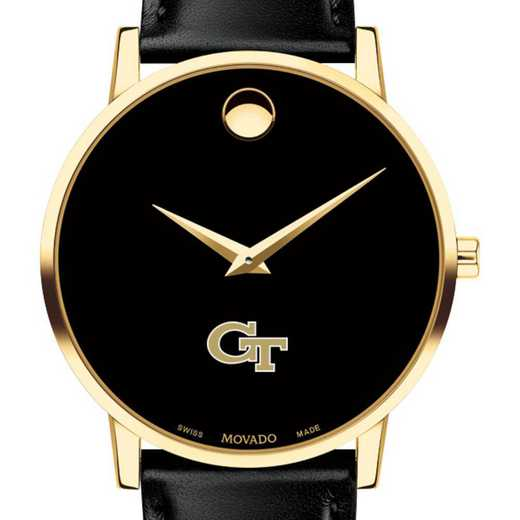 615789960935: Georgia Tech Men's Movado Gold Museum Classic Leather