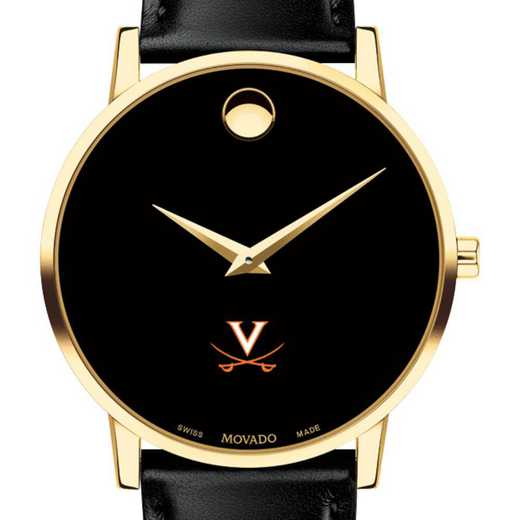 615789975656: Univ of Virginia Men's Movado Gold Museum Classic Leather