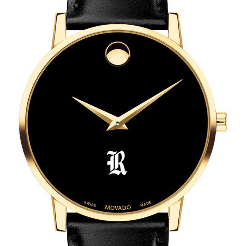 615789988083: Rice Univ Men's Movado Gold Museum Classic Leather