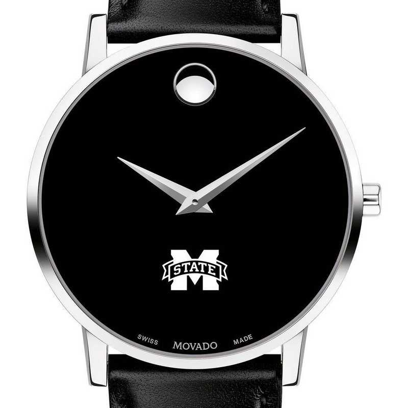 615789085515: Mississippi State Men's Movado Museum with Leather Strap