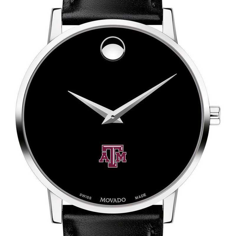 615789090267: Texas A&M Univ Men's Movado Museum with Leather Strap