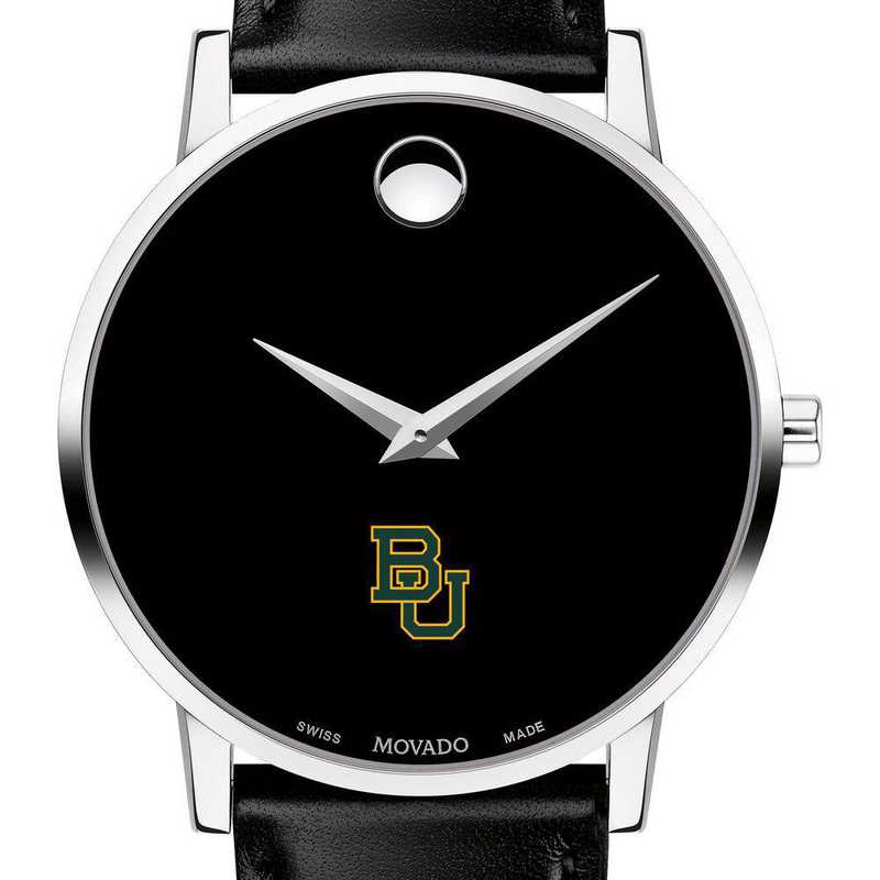 615789114499: Baylor Univ Men's Movado Museum w/ Leather Strap