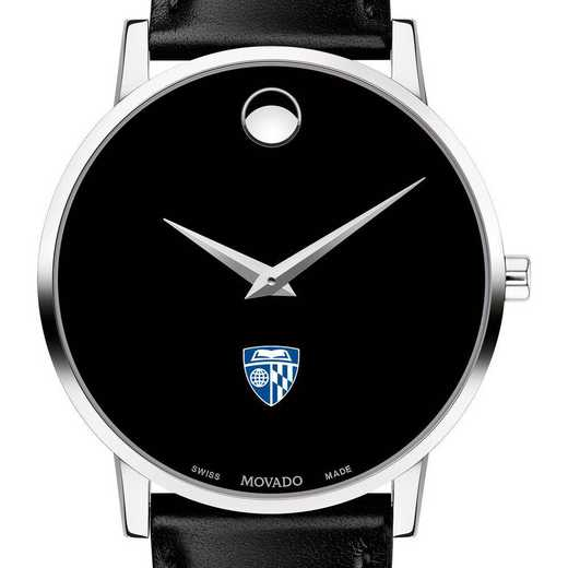 615789116400: Johns Hopkins Univ Men's Movado Museum w/ Leather Strap